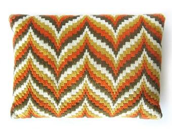 1960s Bargello Throw Pillow in Orange, Gold, Brown / Decorator Pillow / Lumbar Pillow / Throw Pillow / Mod Decor