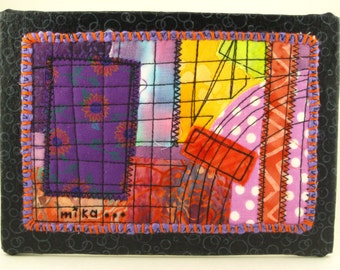 Abstract Art Quilt by Mock Pie Studio, whimsical, improv piecing, scrappy fabric collage, mini wall art, ready to display, gift under 50