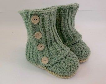 Baby Wrap Booties Soft Forest Green Crochet Booties 9-12 Month Size Baby Shoes