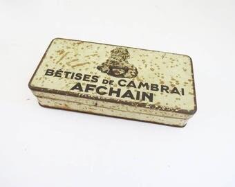 French Betises Tin Box // 1930's Small Rectangular Tin Trinket Box // Vintage Home Decor