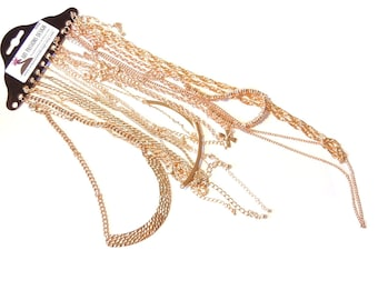 12 Variety Finished Necklace Chains- 16 inch, 18 Inch, 26 inch, 32 inch Gold-tone N460