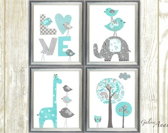 Blue aqua and gray Nursery decor Elephant nursery giraffe nursery wall art kids room baby nursery decor Love Bird tree Set of four prints
