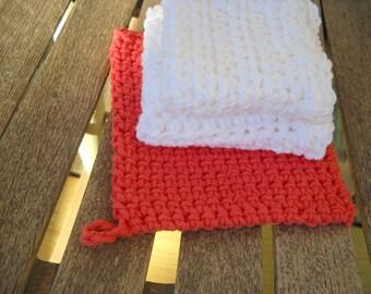 Potholder & Dishcloth (2) Crochet Thick Cotton Handmade