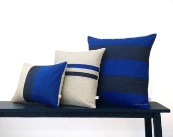 Cobalt Pillow Cover Set of 3 - Colorblock and Striped Pillows by JillianReneDecor - Indigo Blue - Bedding Pillow Trio - Modern