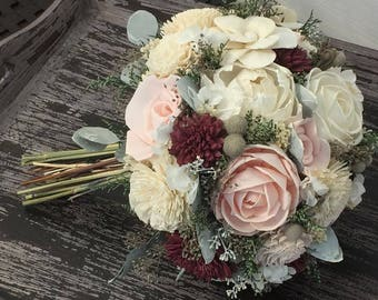 Burgundy, Pink, Wedding Bouquet made with sola flowers - choose your colors - Custom - Alternative bridal bouquet - bridesmaids bouquet