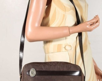 Authentic CHRISTIAN DIOR Vintage Brown LOGO Canvas messenger purse shoulder bag