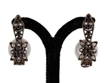 VINTAGE Gold metal FAUX PEARL and Blue rhinestone earrings