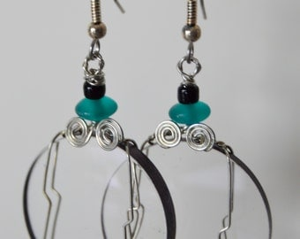 Camera lens earrings dark aqua beads wire wrapped glass lenses artist made in Michigan