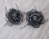 2 pc 3.75 inch Black Slate Gray Organza Rose Feather Glitter Flower Applique Pageant Bridal Dress Corsage