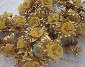 18 pc Rosette Rose Wired Flowers GOLD Organza Satin Ribbon w Pips Bridal Bouquet Hair Bow Accessory