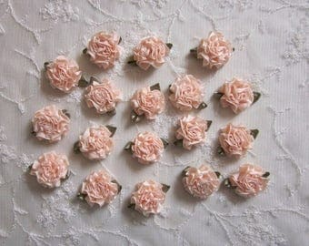 18pc PEACH Satin Ribbon Fabric Flower Applique Shabby Chic Baby Doll Carnation Cabbage Rose Bow