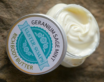 Clary Sage, Geranium, Peppermint Body Butter-garden lotion/body creme/lotion/handmade/thick lotion/floral scent lotion/natural body butter