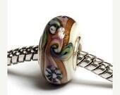 ON SALE 40% OFF Glass Lampwork Beads  - Large Hole Purple Japanese Rondelle Bead - Sc10053