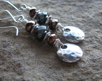 Sterling Silver Hematite Hammered Disk Earrings
