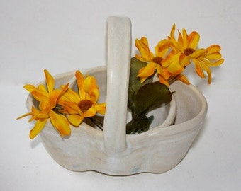 Succulant  Planter or Centerpiece Vase  Basket Style Mat White Stoneware One of a Kind  Art  Pottery