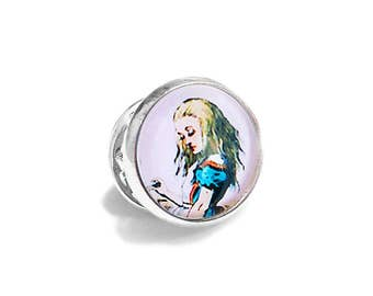 Alice in Wonderland Pin Brooch Lewis Carroll Blue and White