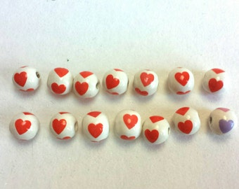 Large Ceramic Porcelain Heart Sphere Beads Glossy 14 Count