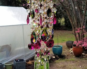 Antique Crystal Wind Chime, Magenta and Olive Crystal Chimes, Crystal Sun Catcher, Garden Decoration, Boho Crystal Wind Chime, Gypsy Chimes