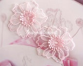 5 Small Light Pastel Pink Organza Floral Flower Wedding Cocktail Dress Gown Sew On Appliques Embellishment Decorations