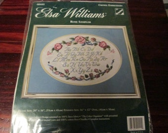 Elsa Williams Crewel Embroidery Kit Rose Sampler 00441 Complete and Ready to Stitch Alphabet and Flowers