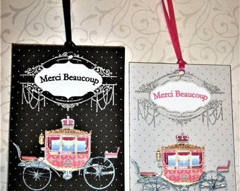 ELEGANT THANK YoU TaGS - Princess Carriage - Merci Beaucoup, Thank you - Set of 6 Tags - Choice of Color - MBT 121