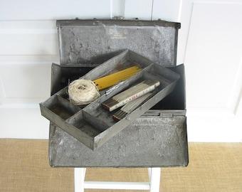 Vintage Metal Tackle Box, Metal Tool Box, Industrial Supply Storage, Vintage Metal Box, Industrial Decor, Silver Box, Industrial Tool Box