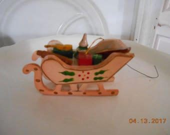 Vintage Wooden Christmas Sleigh Ornament Marked Russ Berrie & Co Inc Made in Taiwan