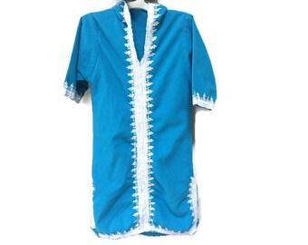 Kids Indian Kurta Dress, Blue Embroidered Kurta Hooded Shirt Dress, Vintage Kids Indian Dress, Girls Vintage Bohemian Kids Dress, Turquoise