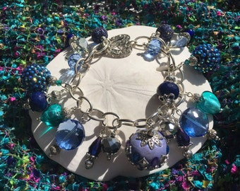 Handmade Chunky Blue, Purple and Aqua Beaded Charm Bracelet, Custom Jewelry, Irish Expressions, Handmade Beaded Jewelry