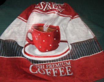 One Kitchen Crochet hanging Towel Coffee, grey crochet top