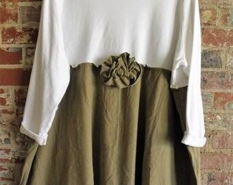 2-3X White Knit Cotton- Khaki Silk Dress/ Upcycled Plus Size Casual Dress/ Floppy Ragg Silk Flower Pin/ Sheerfab Handmade