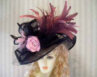 Kentucky Derby Hat, Preakness Hat, BlaCk and MauVe Hat, Belmont Hat, Easter Hat, Ascot Hat, Victorian Hat, Downton Abbey Hat By Ms.Purdy