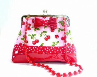 cherry rockabilly handbag, pink cherry handbag, retro clutch, red vinyl purse, cherries clutch, rockabilly wedding, evening bag, gift