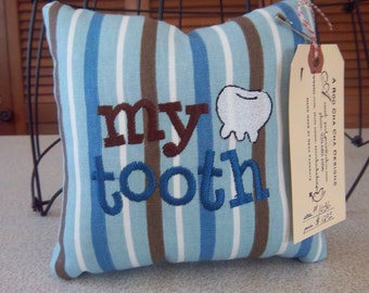 1036 Blue,Brown and White Striped Tooth Fairy Pillow