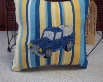 1014 Tooth Fairy Pillow Embroidered on Blue, Yellow and White Striped Fabric