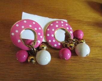 pink & white polka dot earrings post
