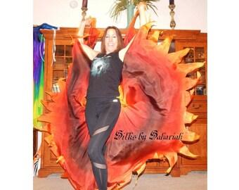 "Sahariah's Silk Belly Dance Veils Original Killer Moths 2 8MM Half Circle Veils Jagged Edges ""Fire Breathing Dragons"" Silks by Sahariah"