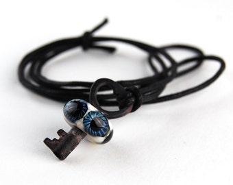 Blue Heart Eyeball Skeleton Key