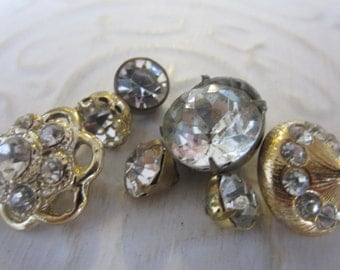 Vintage Buttons -  beautiful and unique lot of 6 assorted rhinestones, bronze metal (jan 215-17)