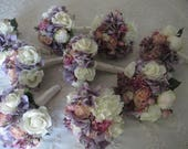 Reserved listing for..Jessica.....Dusty Lavender Roses Lilacs  Garden Flowers with Peonies Bridal Bouquet Set