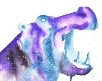 Hippopotamus ORIGINAL Watercolor, Galaxy Spirit Totem Animal 9X12