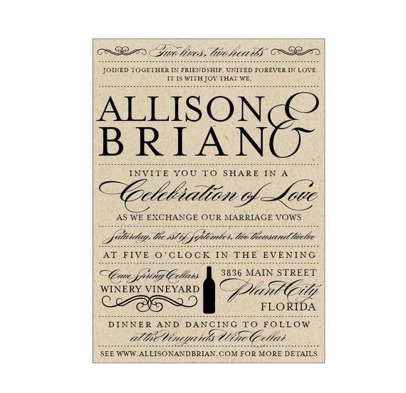 Vineyard Wedding Invitations - Vintage Antique Edwardian Victorian Vineyard Rustic - Wine Bottle - Wedding Invitations