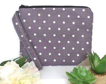 Elegant Makeup Bag, Polka Dot Cosmetic Bag, Padded Makeup Bag, Make Up Bag, Wristlet, Polka Dot Wristlet, Date Night Clutch, Gifts for Her