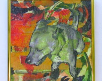 "Canemah Studios Original Mixed Media Collage ""Bodi Dog"""
