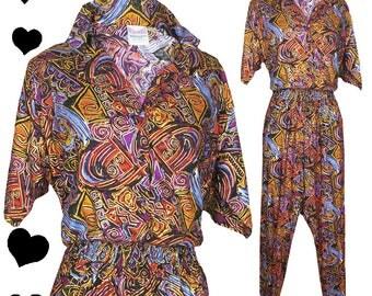 Vintage 80s Jumpsuit // Vintage 80s Short Sleeve Urban Ethnic Print Jumpsuit S M