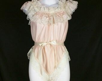 Vintage Dolores for Poirette Pink Cream Lace Teddy Lingerie M