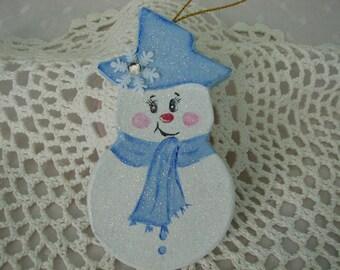 Snowman Ornament Blue Paper Mache Hand Painted Glitter snowflake