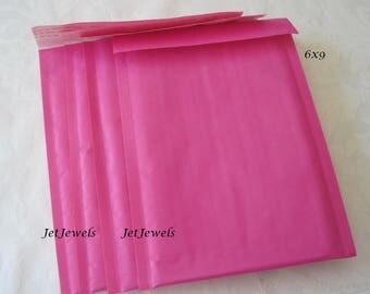 10 Bubble Mailers, Mailing Envelope, Pink Bubble Mailers, Hot Pink Padded Mailers, Shipping Envelopes, Mail Bags, Kraft Envelopes 6x9