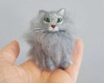 Long haired grey cat ornament, Needle felted cat, Custom cat ornament, Cat memorial, Cat lover gift, Grey cat