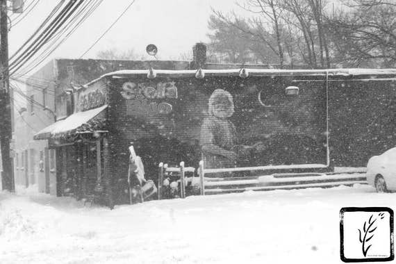 Jerry Garcia, B&W Photograph, photo print, fine art, wall art, home decor, winter, snow, wintry, blizzard, New York, cafe, Grateful Dead